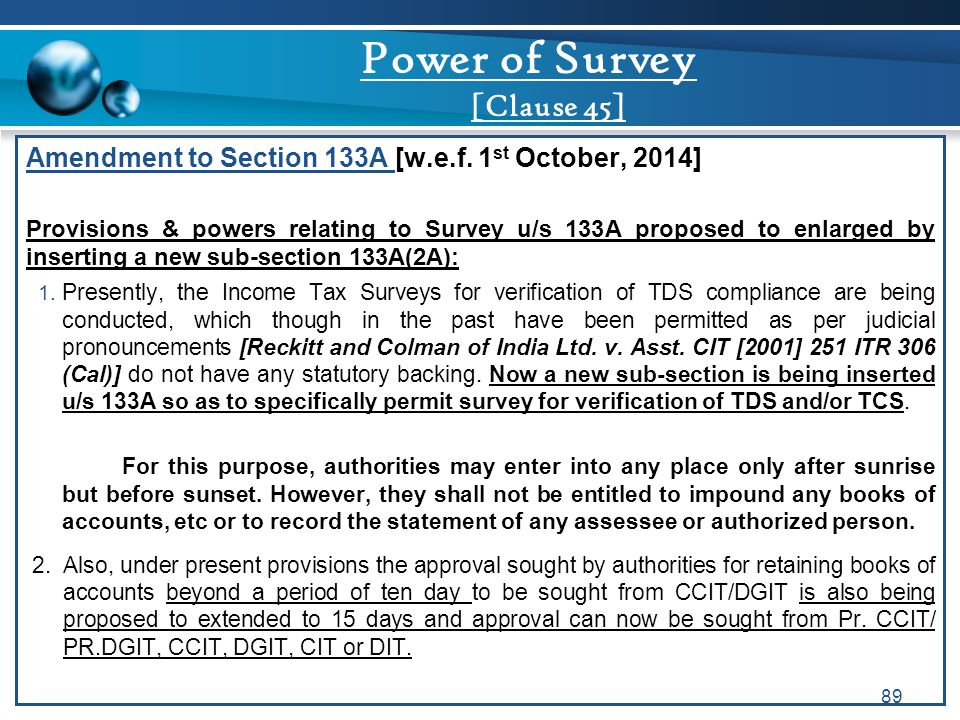 Power of Survey [Clause 45]